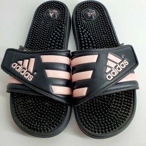 Women's 10 Adidas Black & Pink Massage Insole Slip-on Flip Flop Slippers